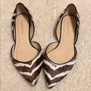 Talbots flats. animal print with leather uppers.